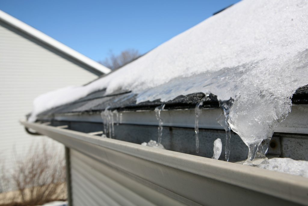 Ice damming on a roof.