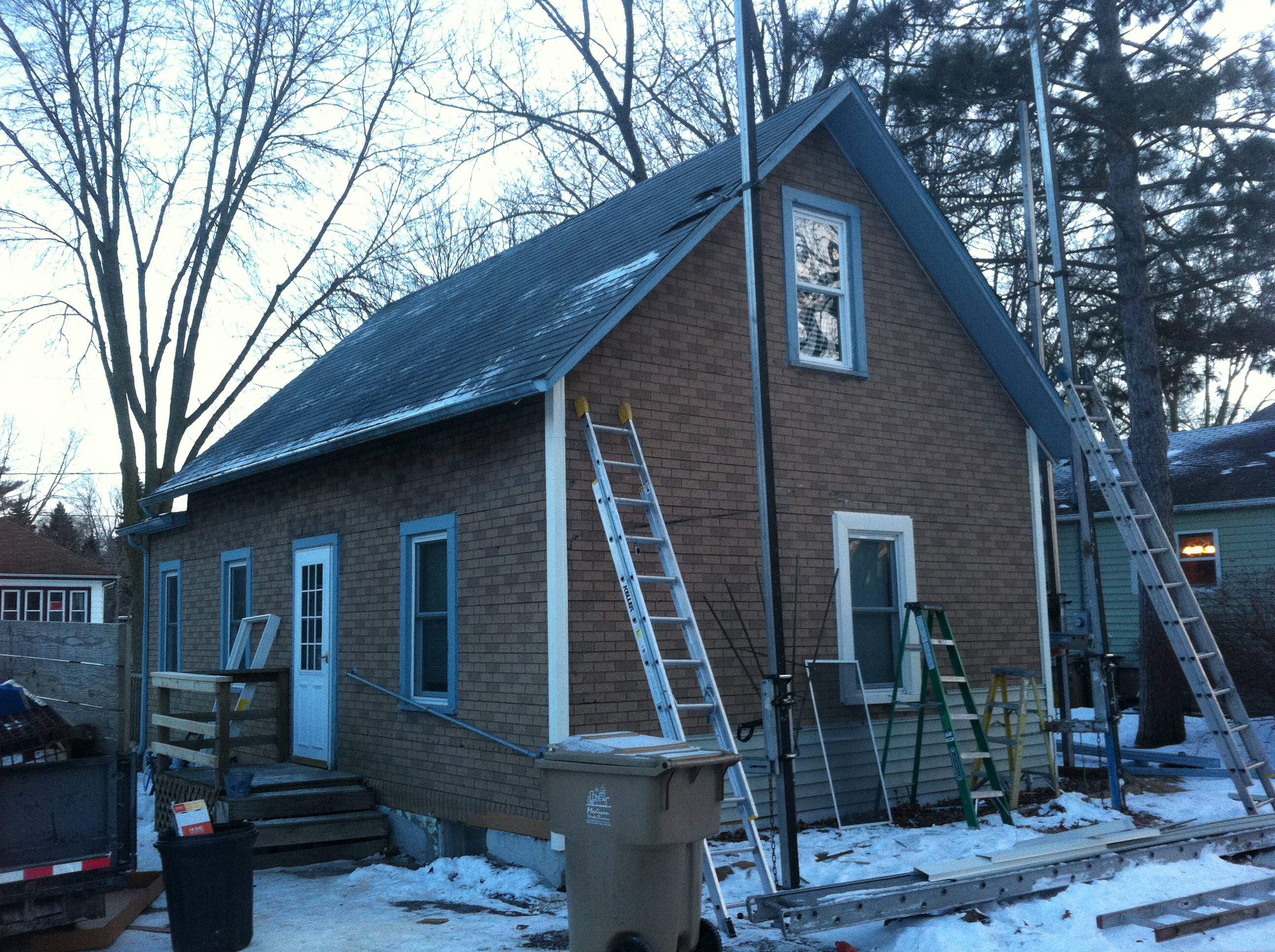 Brick before the siding.